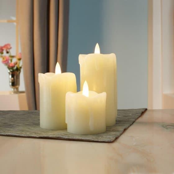 3 bougies LED scintillantes