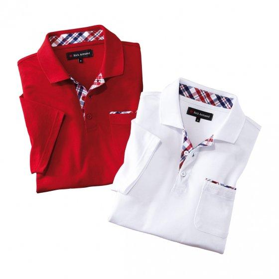 Poloshirt met contrasterende afwerking Set van 2 stuks