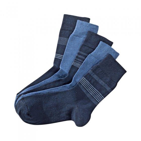 Chaussettes stretch confort Lot de 5  39/42 | Lot de Tonsbleus + Tonsbeige