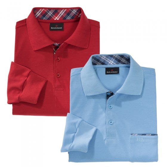 Poloshirt met contrasten in set van 2