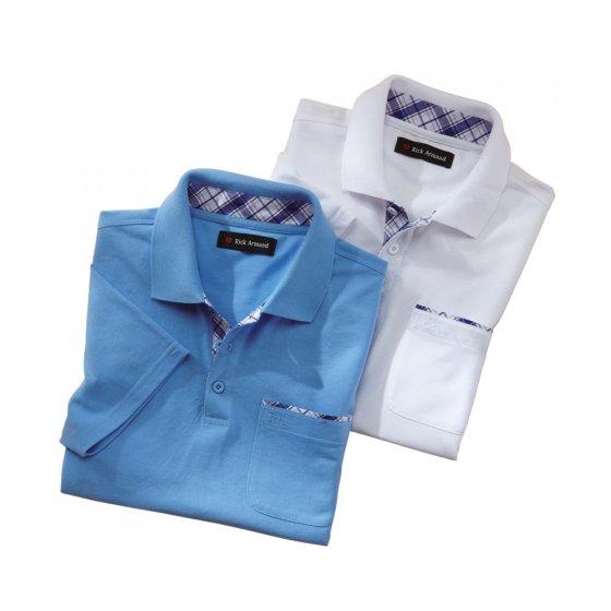 Poloshirt met contrastbeleg in set van 2 Set
