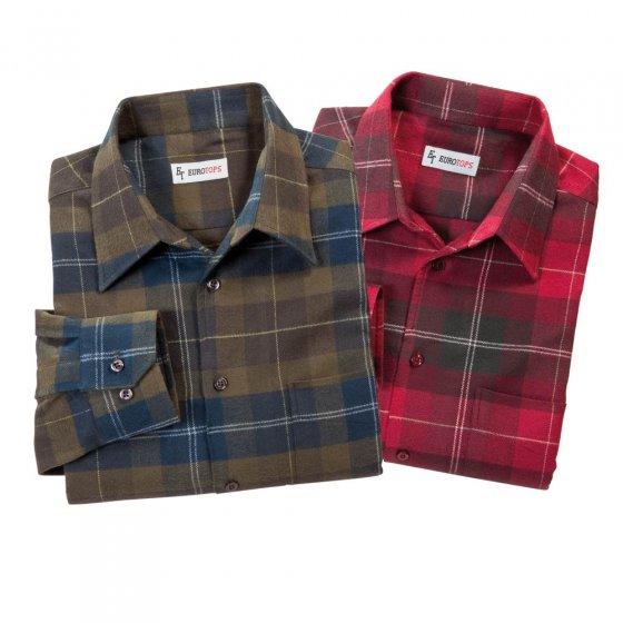 Dubbel set flanellen overhemd