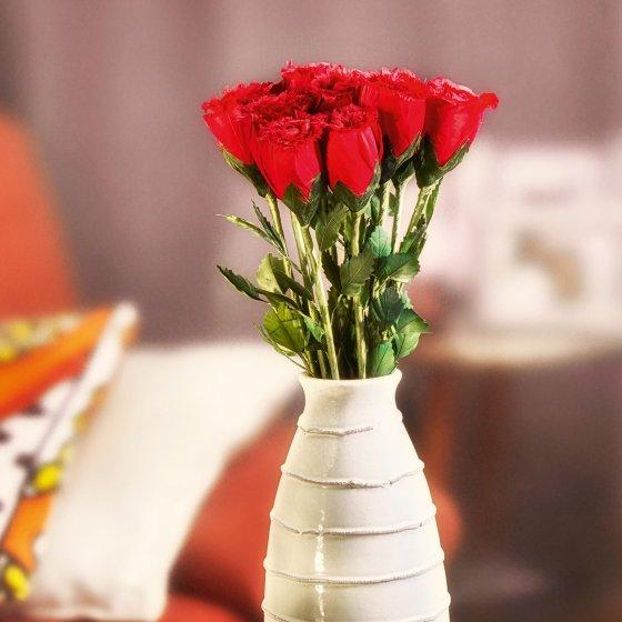 Handgemaakte rozen van ganzenveren 12 stuks
