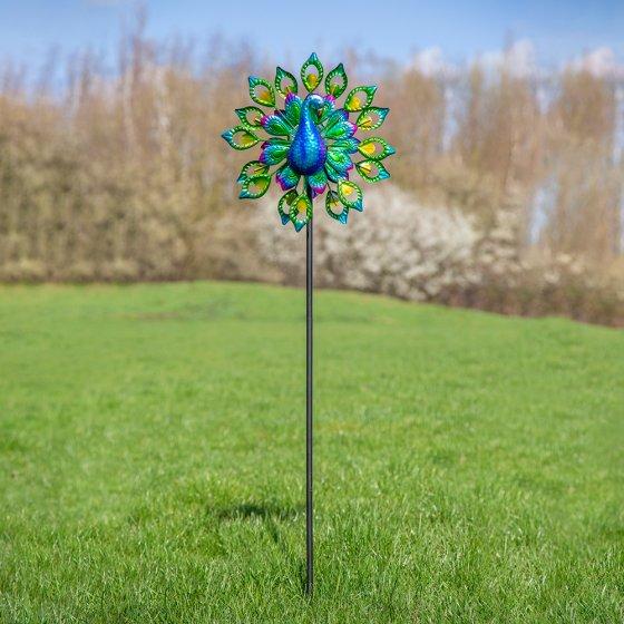 Moulin à vent solaire à LED paon