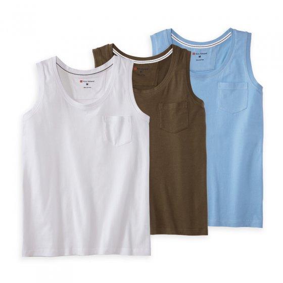 Débardeur en coton Par lot de 3 paires M | Blanc#Vertolive#Bleuclair
