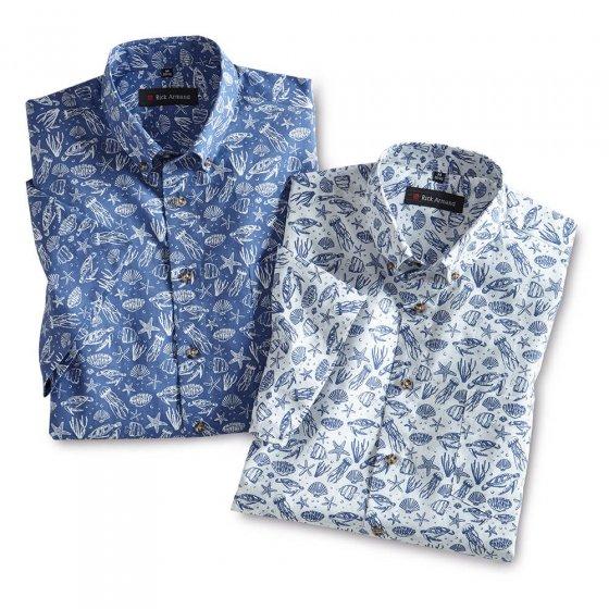 Chemise d'été imprimée Lot de 2  XXL | Bleu-imprimé#Blanc-imprimé