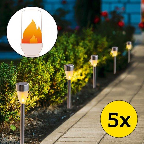 Solar-vlammenlichtset Set van 5