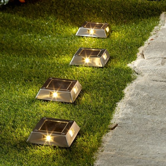 Lampes de sol en inox Lot de 4