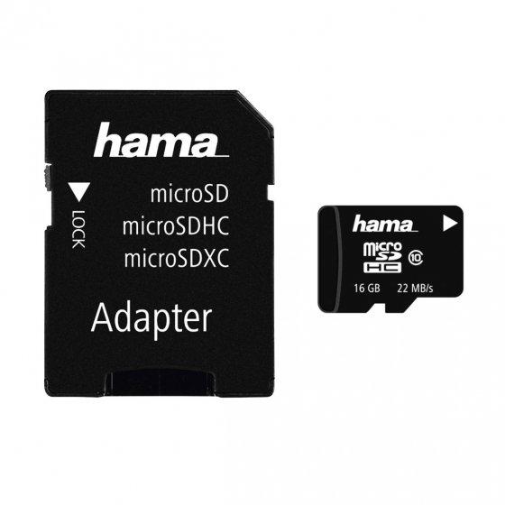 Carte mémoire 16 Go Micro SDHC + adapt.