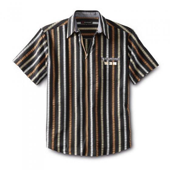 Chemise zippée en seersucker XXL | Blanc-àrayures