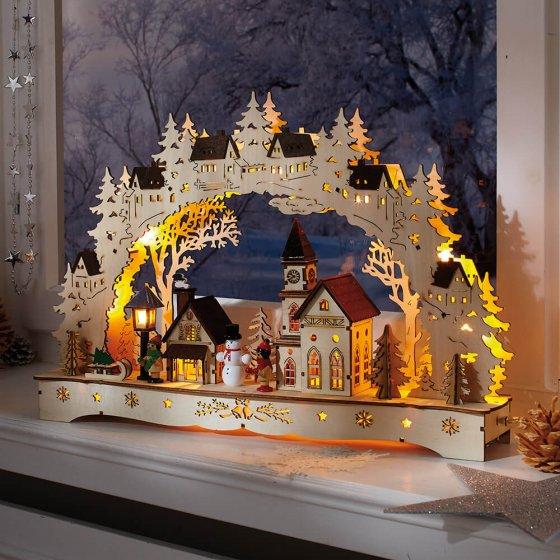 """Arche lumineuse LED  """"scène de village"""""""