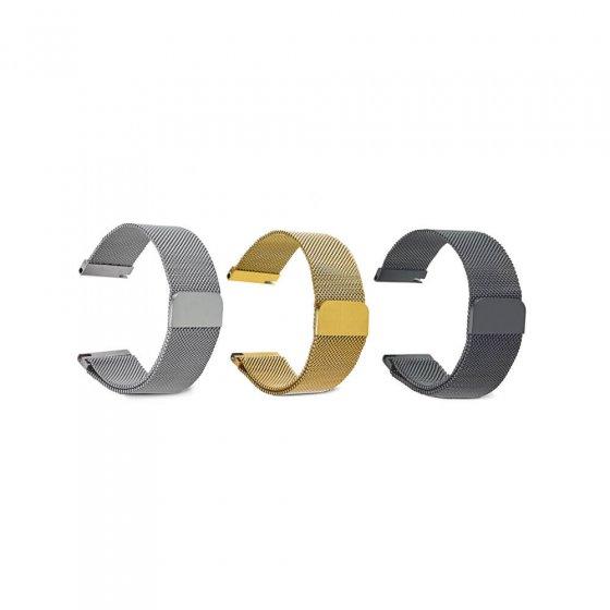 Bracelet milanais à fermoir magnétique 22 (22 cm) | Noir
