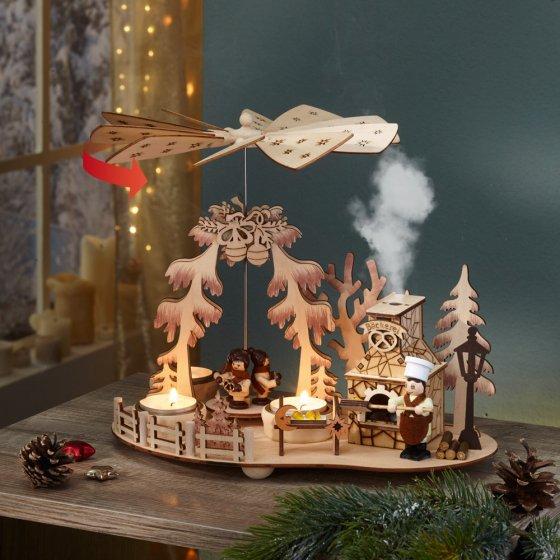 Pyramide de bougies chauffe-plat avec fumoir