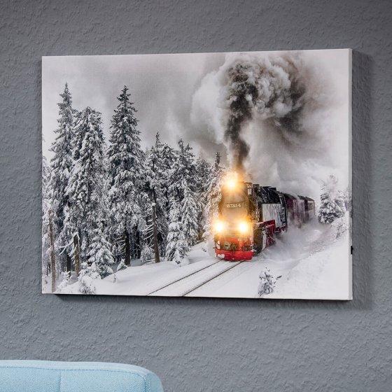 """Tableau mural LED  """"locomotive à vapeur"""""""
