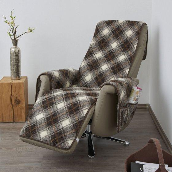 Jeté de fauteuil en laine vierge, avec repose-pieds