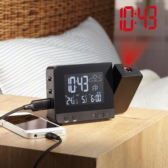 Réveil à projection avec station météo