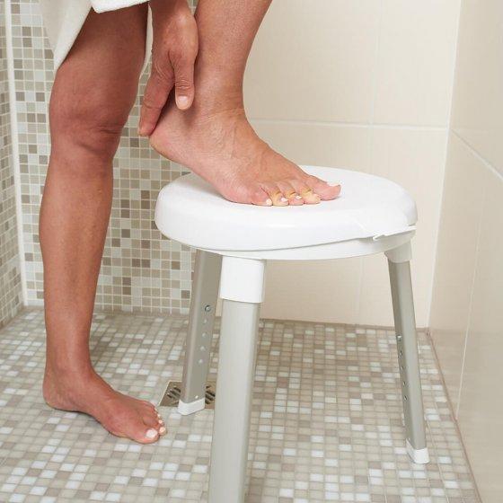 Tabouret de douche à assise rotative